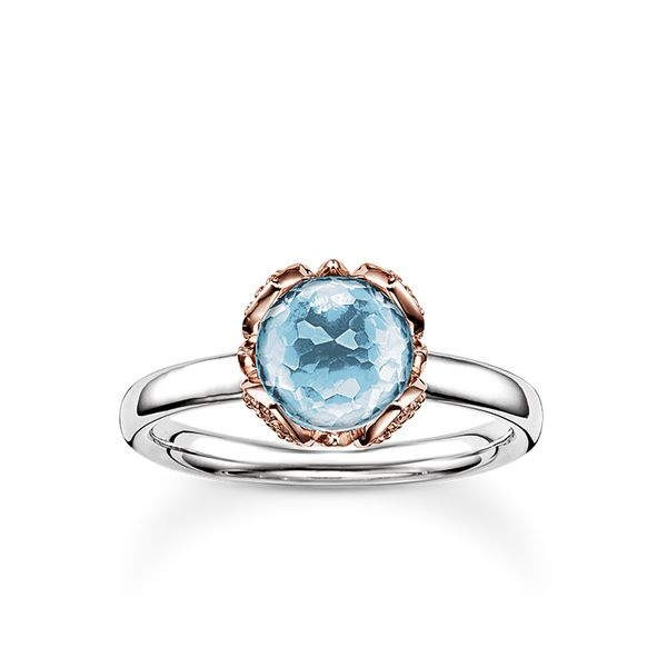 Thomas Sabo Solitaire Ring Blue Lotus Flower Women Rings Jtr0003 763 31