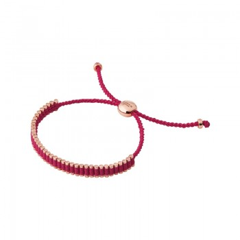 Links Of London 18kt Rose Gold Vermeil & Fuchsia Cord Mini Friendship Bracelet