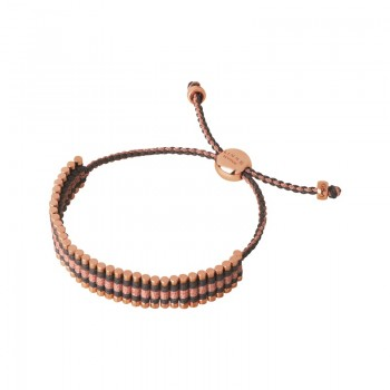 Links Of London 18kt Rose Gold Vermeil, Grey & Copper Glitter Cord Friendship Bracelet