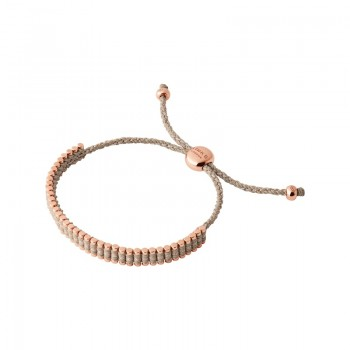 Links Of London 18kt Rose Gold Vermeil & Taupe Cord Mini Friendship Bracelet