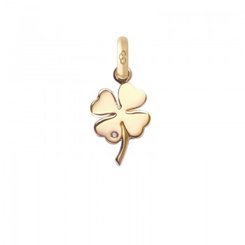 Links Of London 18kt Yellow Gold and Diamond Four Leaf Clover Charm