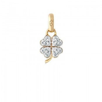 Links Of London 18kt Yellow Gold & Diamond Four Leaf Clover Charm