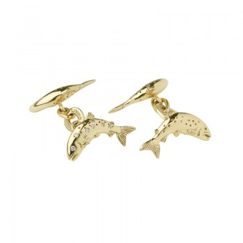 Links Of London 18kt Yellow Gold & Diamond Salmon Cufflinks