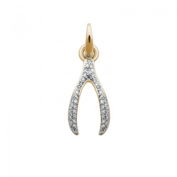 Links Of London 18kt Yellow Gold & Diamond Wishbone Charm