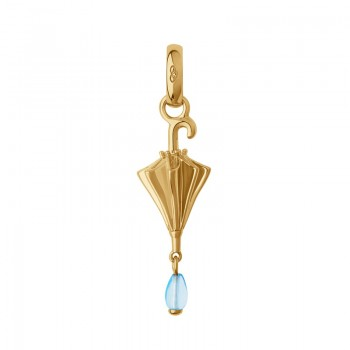 Links Of London 18kt Yellow Gold Vermeil & Blue Topaz Umbrella Charm