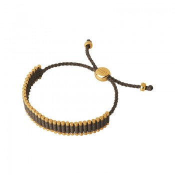 Links Of London 18kt Yellow Gold Vermeil & Khaki Cord Friendship Bracelet