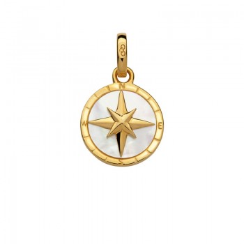 Links Of London 18kt Yellow Gold Vermeil & Mother of Pearl Compass Charm