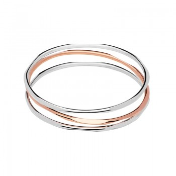 Links Of London 20/20 Sterling Silver & 18kt Rose Gold 3 Loop Bangle