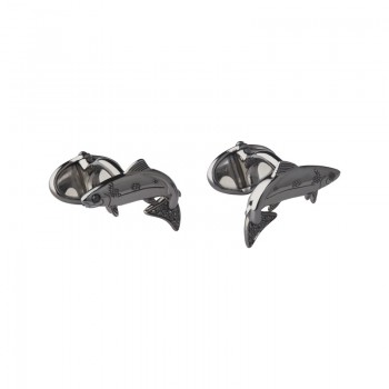 Links Of London 25 Years Ruthenium & Black Diamond Salmon Cufflinks