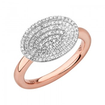 Links Of London Concave 18kt Rose Gold Vermeil & Diamond Ring