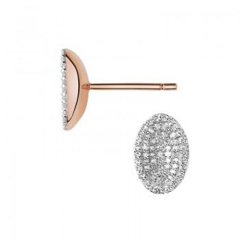 Links Of London Concave 18kt Rose Gold Vermeil & Diamond Stud Earrings