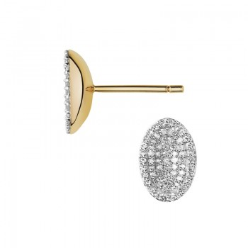 Links Of London Concave 18kt Yellow Gold Vermeil & Diamond Earrings