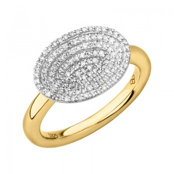 Links Of London Concave 18kt Yellow Gold Vermeil & Diamond Ring