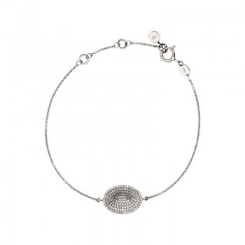 Links Of London Concave Sterling Silver & Diamond Bracelet