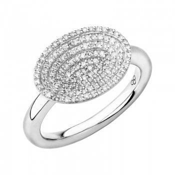 Links Of London Concave Sterling Silver & Diamond Ring