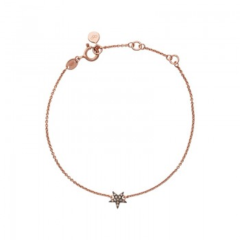 Links Of London Diamond Essentials 18kt Rose Gold Vermeil & Champagne Pave Star Bracelet