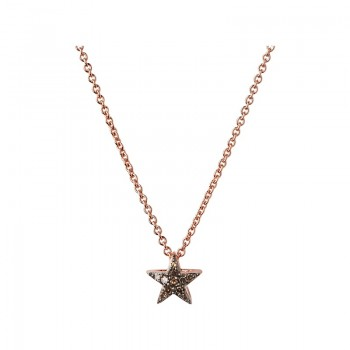 Links Of London Diamond Essentials 18kt Rose Gold Vermeil & Champagne Pave Star Necklace