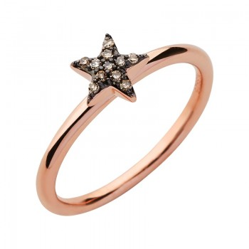 Links Of London Diamond Essentials 18kt Rose Gold Vermeil & Champagne Pave Star Ring