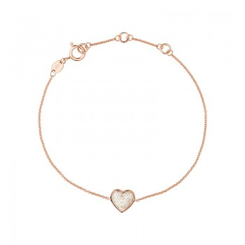 Links Of London Diamond Essentials 18kt Rose Gold Vermeil & Pave Heart Bracelet