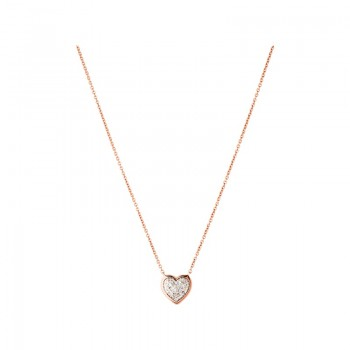 Links Of London Diamond Essentials 18kt Rose Gold Vermeil & Pave Heart Necklace