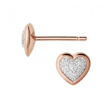 Links Of London Diamond Essentials 18kt Rose Gold Vermeil & Pave Heart Stud Earrings