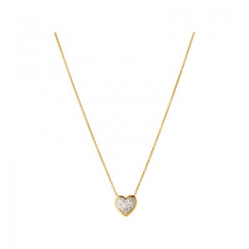 Links Of London Diamond Essentials 18kt Yellow Gold Vermeil & Pave Heart Necklace