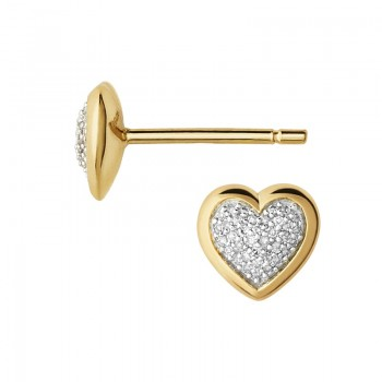 Links Of London Diamond Essentials 18kt Yellow Gold Vermeil & Pave Heart Stud Earrings