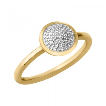 Links Of London Diamond Essentials 18kt Yellow Gold Vermeil & Pave Round Ring