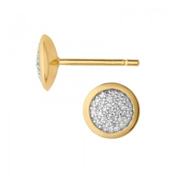 Links Of London Diamond Essentials 18kt Yellow Gold Vermeil & Pave Round Stud Earrings