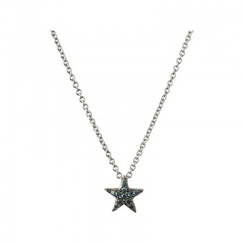 Links Of London Diamond Essentials Sterling Silver & Blue Pave Star Necklace
