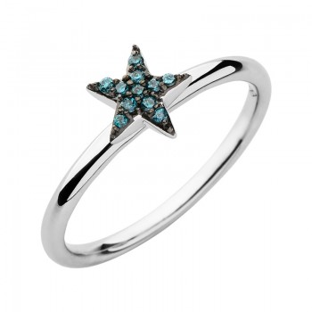 Links Of London Diamond Essentials Sterling Silver & Blue Pave Star Ring