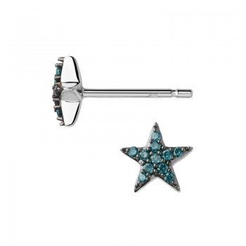 Links Of London Diamond Essentials Sterling Silver & Blue Pave Star Stud Earrings