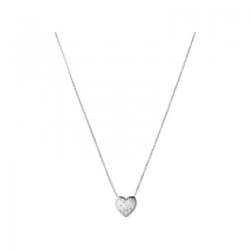 Links Of London Diamond Essentials Sterling Silver & Pave Heart Necklace