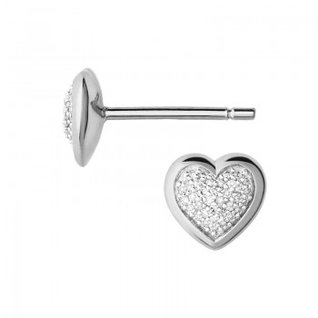 Links Of London Diamond Essentials Sterling Silver & Pave Heart Stud Earrings