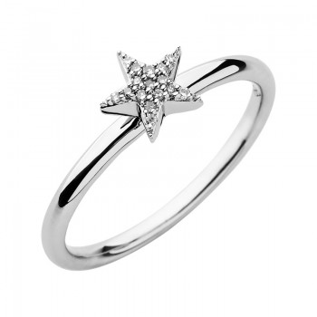 Links Of London Diamond Essentials Sterling Silver & White Pave Star Ring