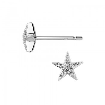 Links Of London Diamond Essentials Sterling Silver & White Pave Star Stud Earrings