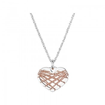 Links Of London Dream Catcher Sterling Silver Rose Gold Heart Necklace