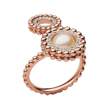 Links Of London Effervescence 18kt Rose Gold, Diamond & Pearl Double Ring