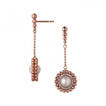 Links Of London Effervescence 18kt Rose Gold, Diamond & Pearl Drop Earrings