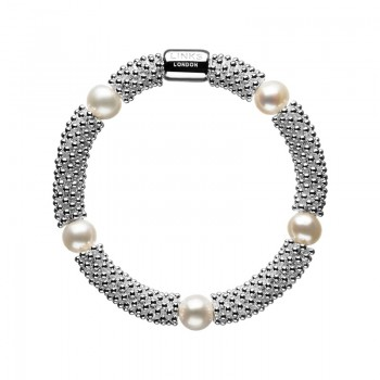 Links Of London Effervescence Star Sterling Silver & White Pearl Bracelet
