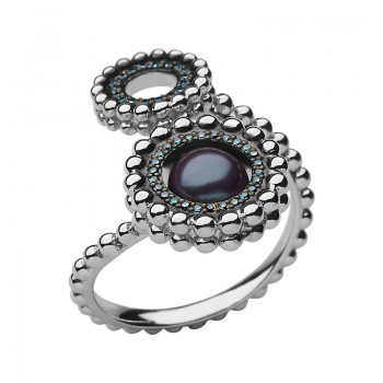 Links Of London Effervescence Sterling Silver, Blue Diamond & Pearl Double Ring