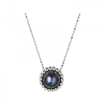 Links Of London Effervescence Sterling Silver, Blue Diamond & Pearl Necklace