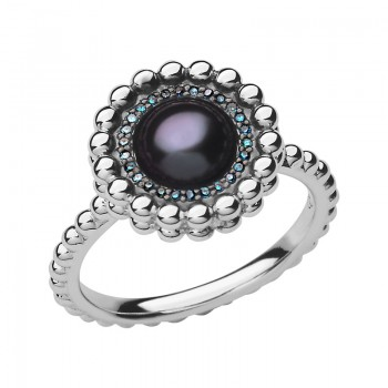 Links Of London Effervescence Sterling Silver, Blue Diamond & Pearl Ring