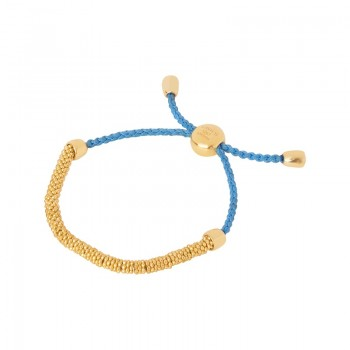 Links Of London Effervescence XS Yellow Gold Vermeil & Blue Cord Bracelet