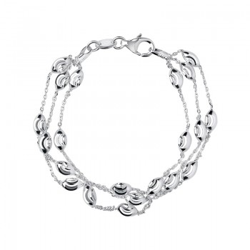 Links Of London Essentials Sterling Silver Beaded Chain 3 Row Bracelet