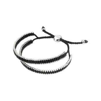 Links Of London Friendship Mens Sterling Silver & Black Cord Double Wrap Bracelet
