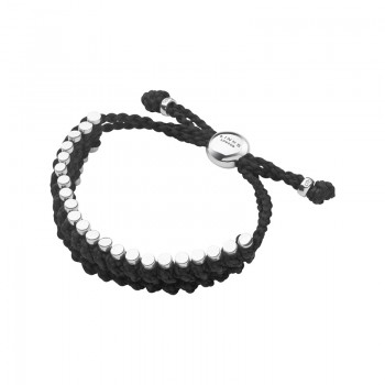 Links Of London Friendship Mens Sterling Silver & Black Cord Rope Bracelet