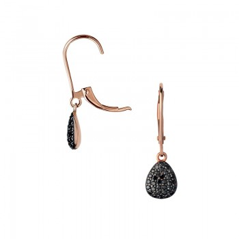 Links Of London Hope 18kt Rose Gold & Black Diamond Drop Earrings