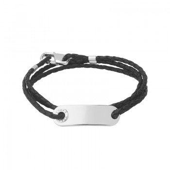 Links Of London Soho Mens ID Bracelet with Leather Cord