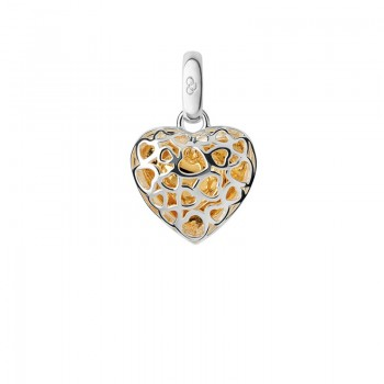 Links Of London Sterling Silver & 18kt Yellow Gold Vermeil Cage Heart Charm